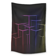 Space Light Lines Shapes Neon Green Purple Pink Large Tapestry by Alisyart