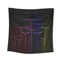 Space Light Lines Shapes Neon Green Purple Pink Square Tapestry (small) by Alisyart