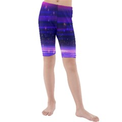 Space Planet Pink Blue Purple Kids  Mid Length Swim Shorts by Alisyart