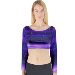Space Planet Pink Blue Purple Long Sleeve Crop Top by Alisyart