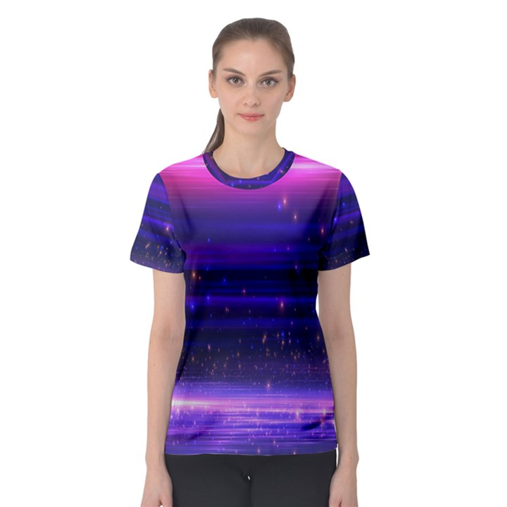 Space Planet Pink Blue Purple Women s Sport Mesh Tee