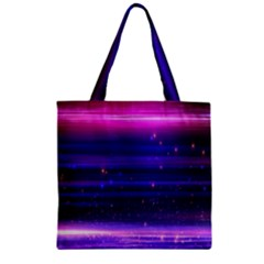 Space Planet Pink Blue Purple Zipper Grocery Tote Bag by Alisyart