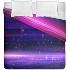 Space Planet Pink Blue Purple Duvet Cover Double Side (king Size) by Alisyart