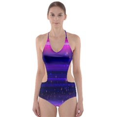 Space Planet Pink Blue Purple Cut Out One Piece Swimsuit