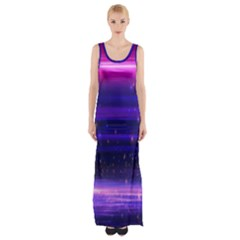 Space Planet Pink Blue Purple Maxi Thigh Split Dress by Alisyart