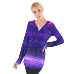 Space Planet Pink Blue Purple Women s Tie Up Tee