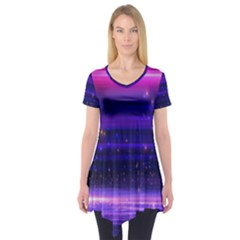 Space Planet Pink Blue Purple Short Sleeve Tunic  by Alisyart
