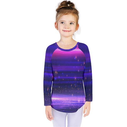Space Planet Pink Blue Purple Kids  Long Sleeve Tee by Alisyart