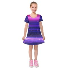 Space Planet Pink Blue Purple Kids  Short Sleeve Velvet Dress by Alisyart