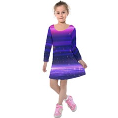 Space Planet Pink Blue Purple Kids  Long Sleeve Velvet Dress by Alisyart