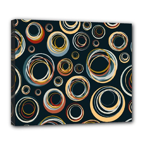 Seamless Cubes Texture Circle Black Orange Red Color Rainbow Deluxe Canvas 24  X 20   by Alisyart