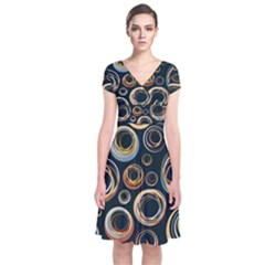 Seamless Cubes Texture Circle Black Orange Red Color Rainbow Short Sleeve Front Wrap Dress