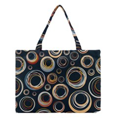 Seamless Cubes Texture Circle Black Orange Red Color Rainbow Medium Tote Bag by Alisyart
