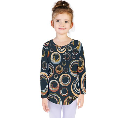 Seamless Cubes Texture Circle Black Orange Red Color Rainbow Kids  Long Sleeve Tee by Alisyart