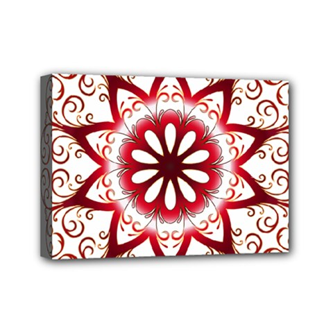 Prismatic Flower Floral Star Gold Red Orange Mini Canvas 7  X 5  by Alisyart