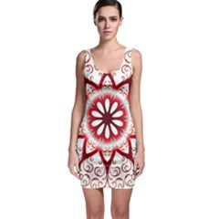 Prismatic Flower Floral Star Gold Red Orange Sleeveless Bodycon Dress by Alisyart