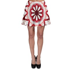 Prismatic Flower Floral Star Gold Red Orange Skater Skirt
