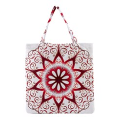 Prismatic Flower Floral Star Gold Red Orange Grocery Tote Bag by Alisyart