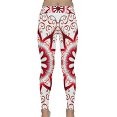 Prismatic Flower Floral Star Gold Red Orange Classic Yoga Leggings by Alisyart