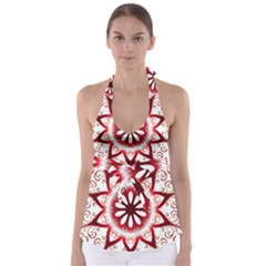 Prismatic Flower Floral Star Gold Red Orange Babydoll Tankini Top by Alisyart