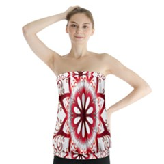 Prismatic Flower Floral Star Gold Red Orange Strapless Top by Alisyart