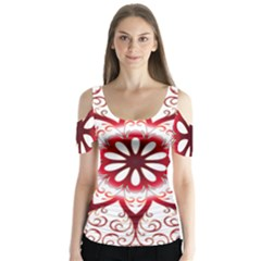 Prismatic Flower Floral Star Gold Red Orange Butterfly Sleeve Cutout Tee  by Alisyart