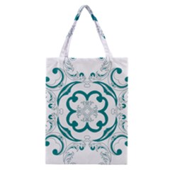 Vintage Floral Star Flower Blue Classic Tote Bag by Alisyart