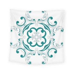 Vintage Floral Star Flower Blue Square Tapestry (small) by Alisyart