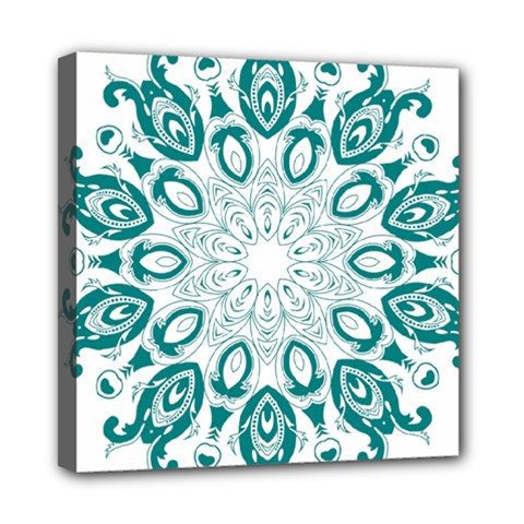 Vintage Floral Star Blue Green Mini Canvas 8  X 8  by Alisyart