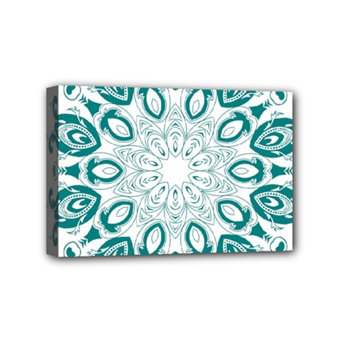 Vintage Floral Star Blue Green Mini Canvas 6  X 4