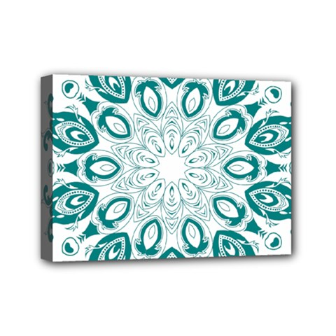 Vintage Floral Star Blue Green Mini Canvas 7  X 5  by Alisyart