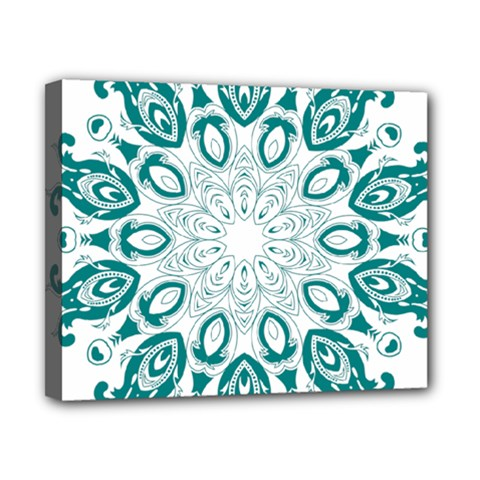 Vintage Floral Star Blue Green Canvas 10  X 8  by Alisyart