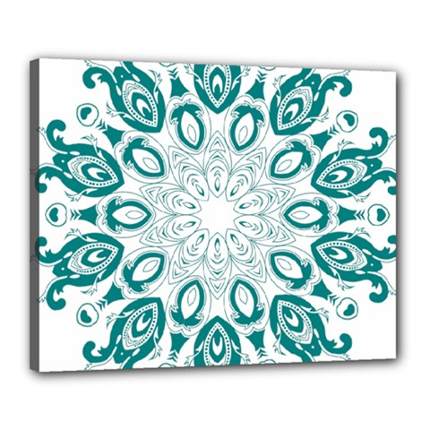 Vintage Floral Star Blue Green Canvas 20  X 16  by Alisyart
