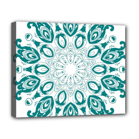 Vintage Floral Star Blue Green Deluxe Canvas 20  X 16   by Alisyart