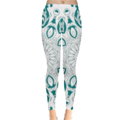 Vintage Floral Star Blue Green Leggings  by Alisyart