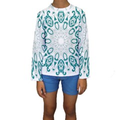 Vintage Floral Star Blue Green Kids  Long Sleeve Swimwear