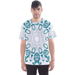Vintage Floral Star Blue Green Men s Sport Mesh Tee by Alisyart
