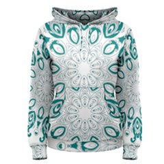 Vintage Floral Star Blue Green Women s Pullover Hoodie