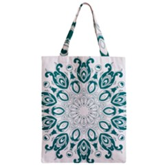 Vintage Floral Star Blue Green Zipper Classic Tote Bag by Alisyart