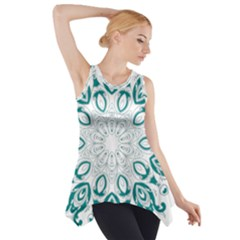 Vintage Floral Star Blue Green Side Drop Tank Tunic by Alisyart