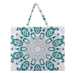 Vintage Floral Star Blue Green Zipper Large Tote Bag by Alisyart
