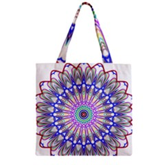 Prismatic Line Star Flower Rainbow Zipper Grocery Tote Bag
