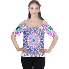 Prismatic Line Star Flower Rainbow Women s Cutout Shoulder Tee