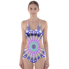 Prismatic Line Star Flower Rainbow Cut Out One Piece Swimsuit