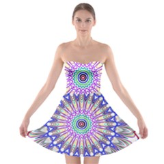 Prismatic Line Star Flower Rainbow Strapless Bra Top Dress by Alisyart