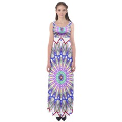 Prismatic Line Star Flower Rainbow Empire Waist Maxi Dress by Alisyart
