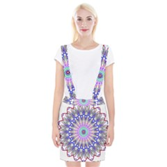 Prismatic Line Star Flower Rainbow Suspender Skirt