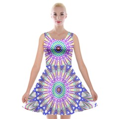 Prismatic Line Star Flower Rainbow Velvet Skater Dress