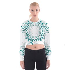 Vintage Floral Style Frame Women s Cropped Sweatshirt by Alisyart