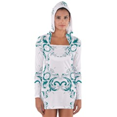 Vintage Floral Style Frame Women s Long Sleeve Hooded T-shirt by Alisyart